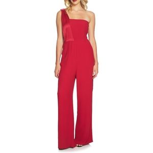 1. State Persian Pink Satin One Shoulder Jumpsuit